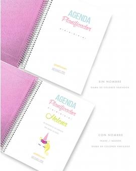 Agenda Personal Polipiel Rosa Purpurina Tamaño A5