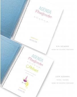Agenda Personalizada Polipiel Azul Purpurina